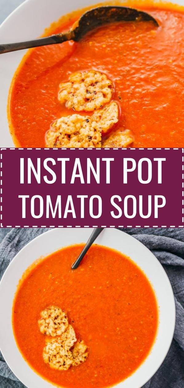 This Is A Quick And Easy Tomato Soup With Basil Made In The Instant Pot It Tastes Creamy And Hearty But Uses N Soup Recipes Stuffed Peppers Diet Soup Recipes