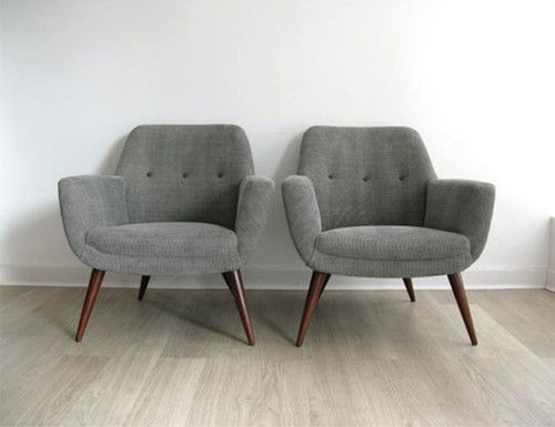 1950s RETRO PAIR HEALS LOUNGE CHAIRS ARMCHAIRS REUPHOLSTERED See Matching  Sofa