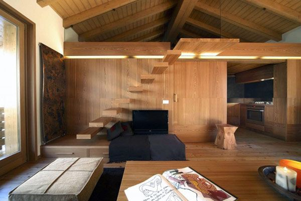 70 Moderne, Innovative Luxus Interieur Ideen Fürs Wohnzimmer   Dachzimmer  Holz Textur Trittstufen Idee Design