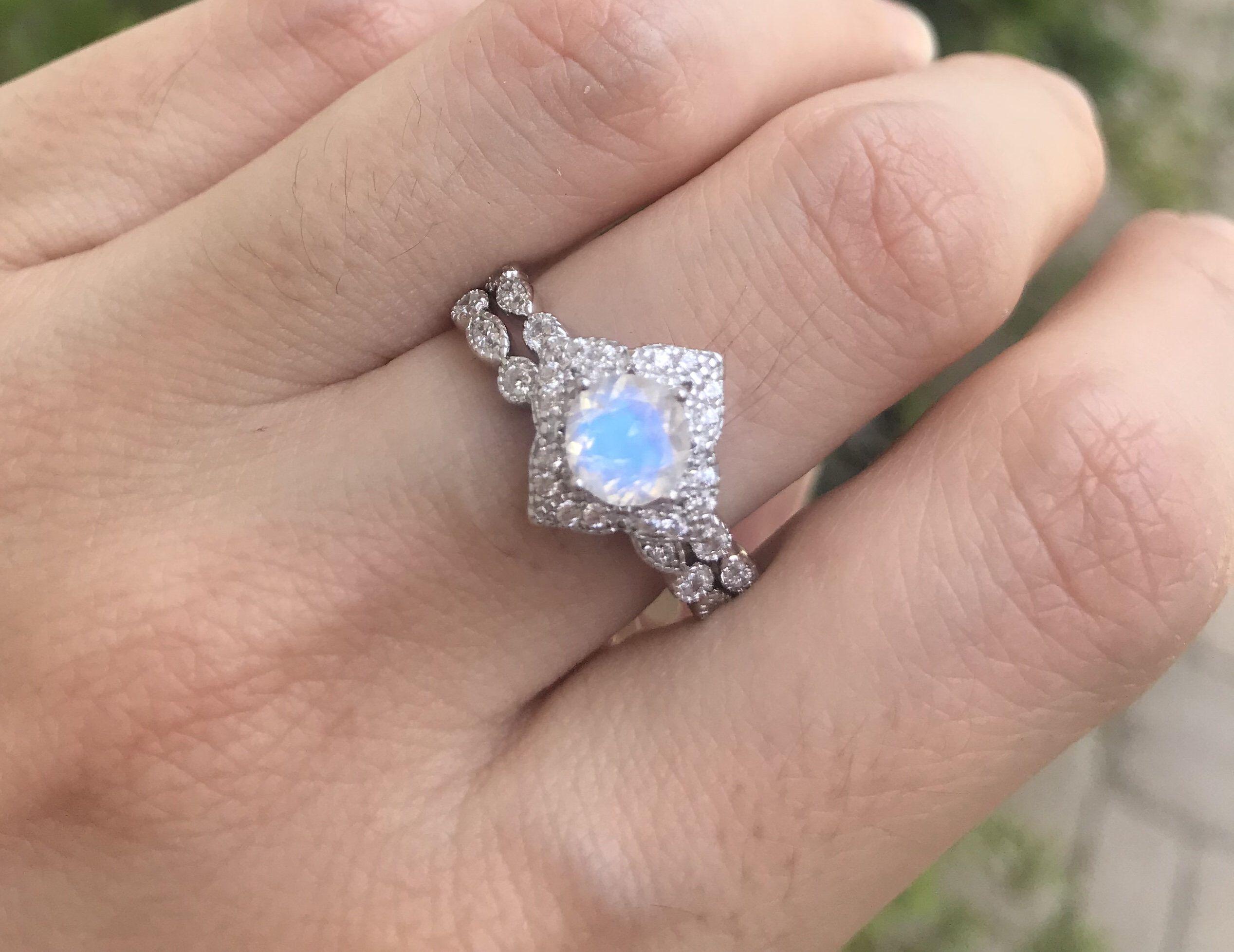 Moonstone Bridal Ring Set Rainbow Moonstone Engagement