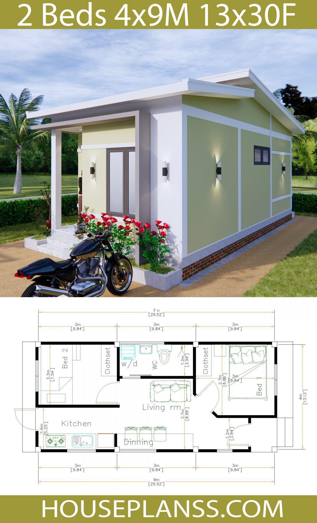 Simple House Plans 4x9 Meters 36sq M House Plans 3d Planos De Casas Casas Planos