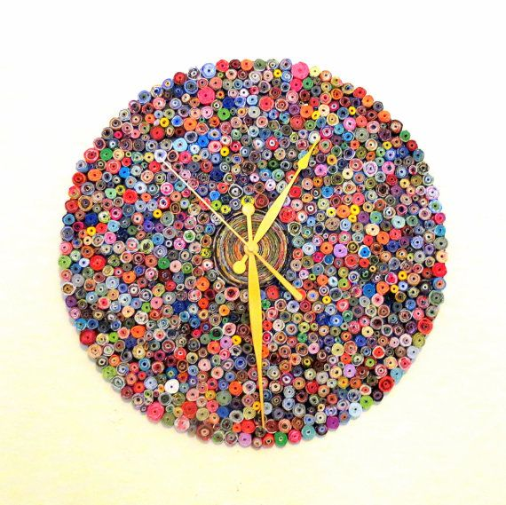 Large Wall Clock, Recycled Art, Home and Living, Paper