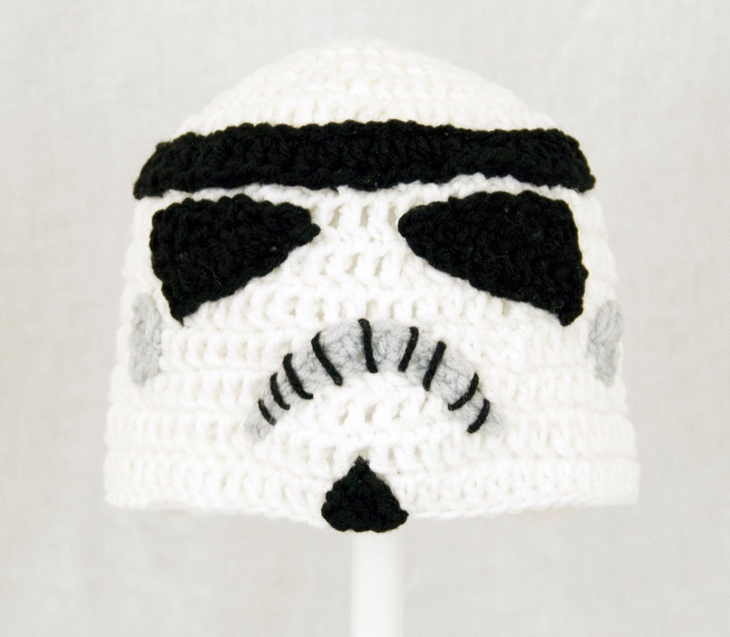 Storm Trooper Hat from Star Wars, Black and White Crochet Beanie ...