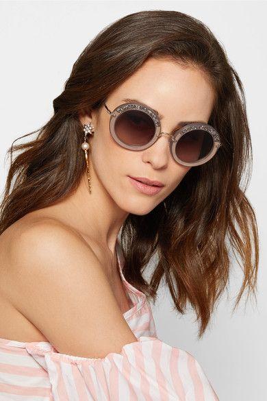 cd987d43615c Miu Miu | Embellished oversized round-frame acetate sunglasses | Sumer 2017  Designer sunglasses