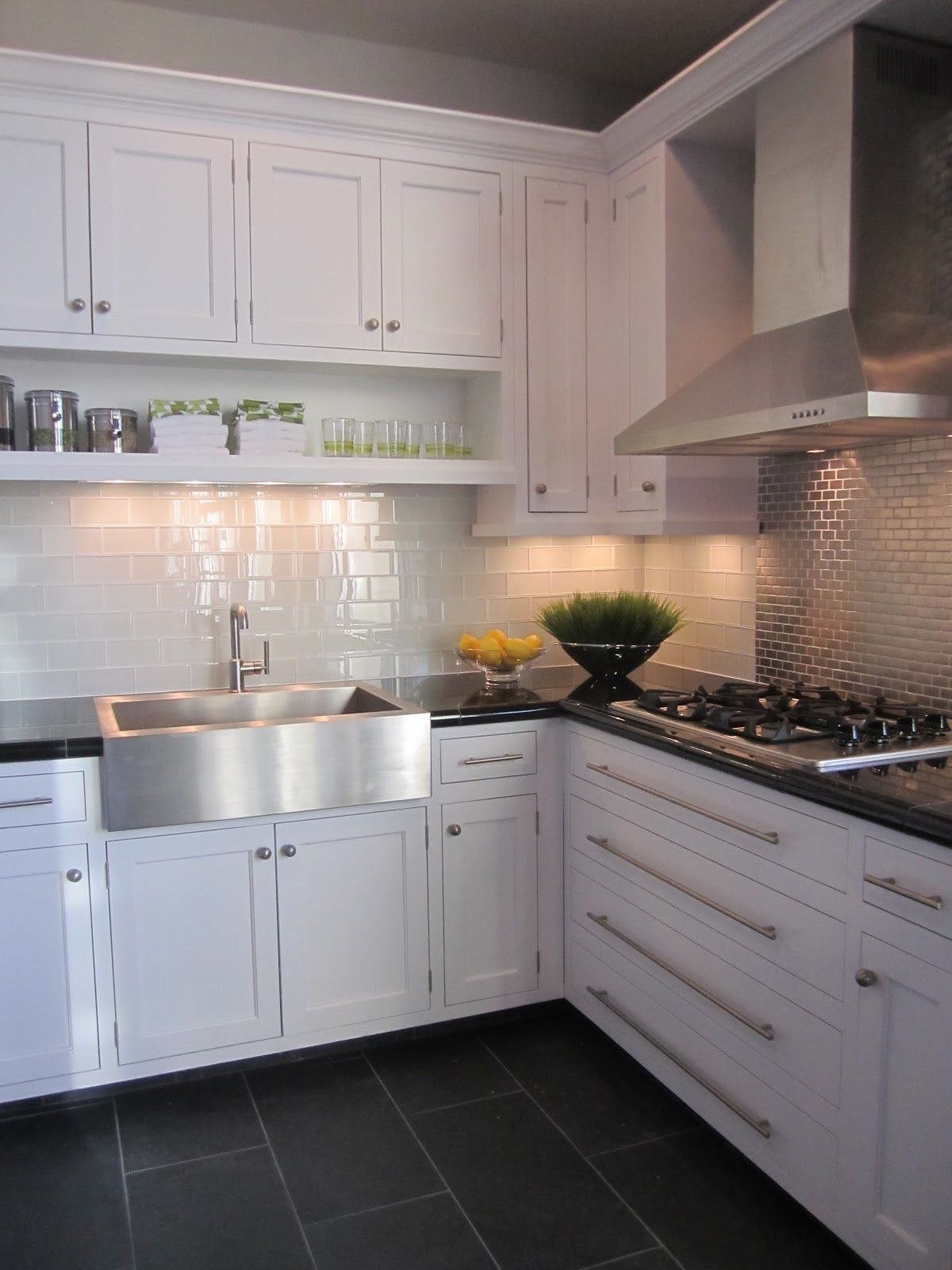 Kitchen white cabinet dark grey floor tiles lovely kitchens white shaker cabinets marble countertops white subway tile and open shelving dailygadgetfo Image collections