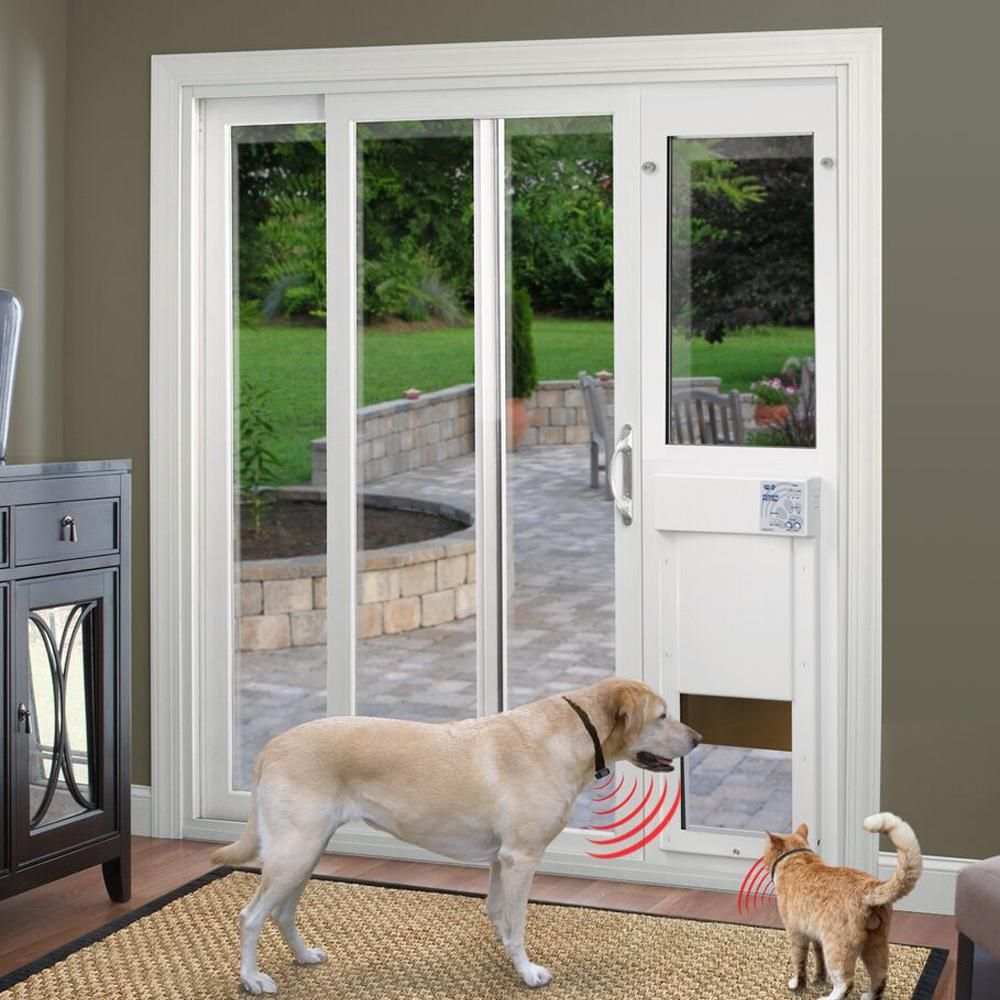 High Tech Pet 12 In X 16 Electronic Patio Door For Sliding Gl Doors Includes Ultrasonic Waterproof Collar Px2 Srg The Home Depot