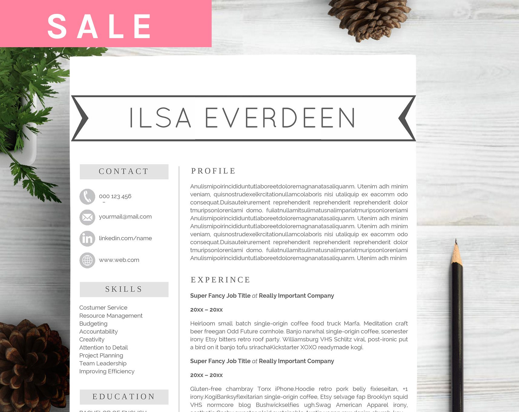 CV Professional Resume Template - Resumes - 1 | 12. Unity: Layout ...