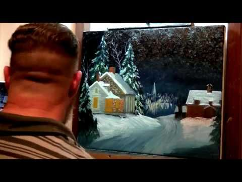 how to paint a Winter night - YouTube