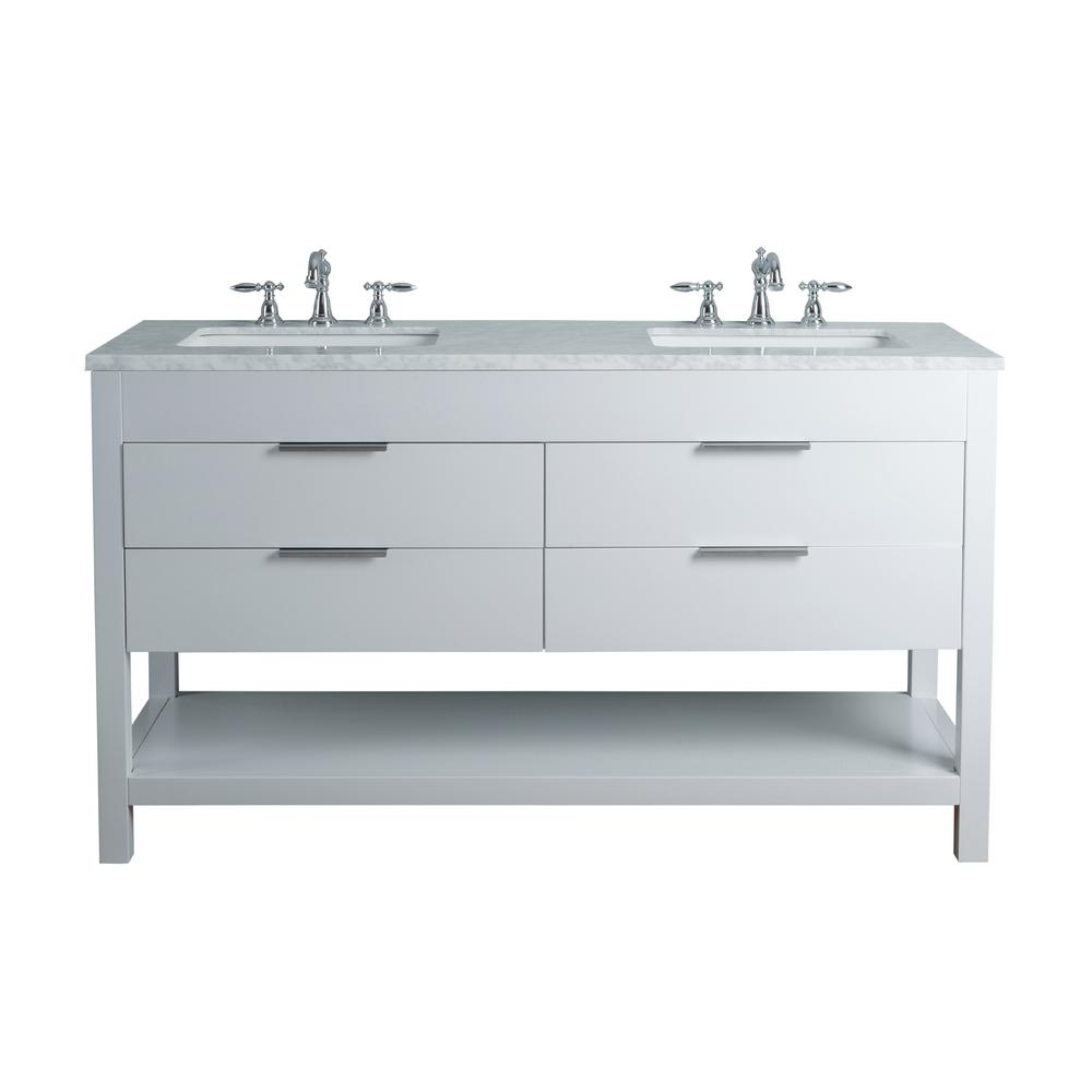 Stufurhome Rochester 60 In White Double Sink Bathroom Vanity With