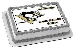 Pittsburgh Penguins Edible Birthday Cake Topper OR Cupcake Topper, Decor - Edible Prints On Cake (Edible Cake &Cupcake Topper)