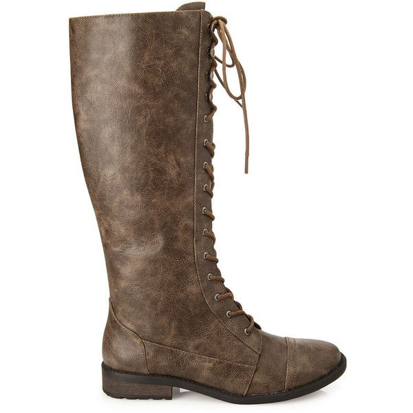 This pair of lace-up knee-high boots are crafted in lightly distressed faux leather, with a stacked heel and a round toe. Tuck in a pair of leggings and top of…
