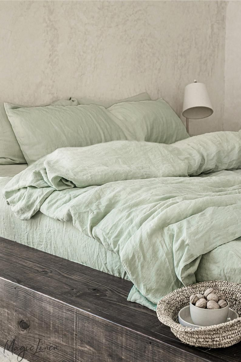 Linen Bedding Set In Sage Green King Queen Duvet Cover Set 3 Piece Washed Linen Set Includes Two Pillowcases In 2020 Bed Linen Sets Linen Sheet Sets Sage Green Bedroom
