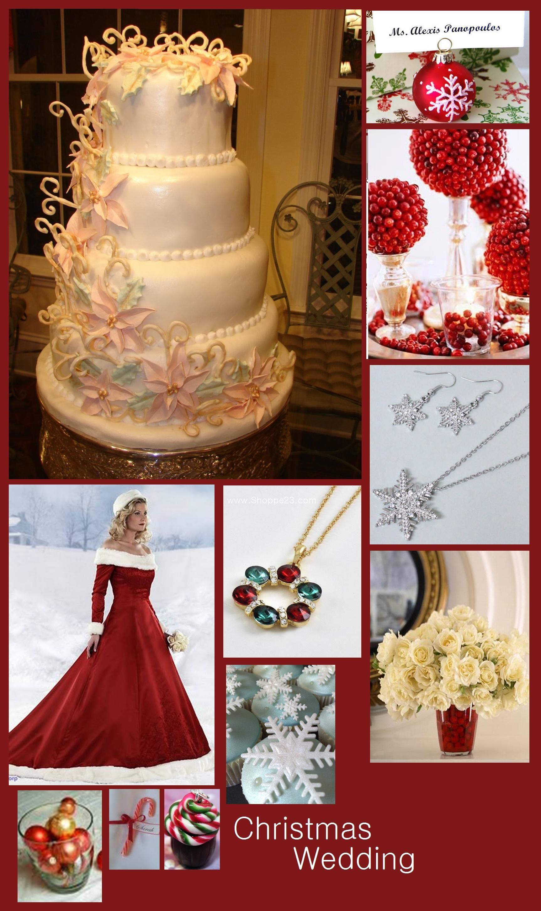christmas weddings in red green pink ivory and white