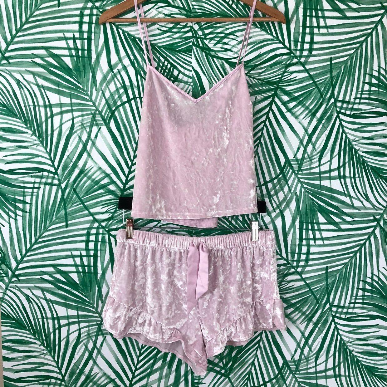 Victoria Secret PINK Pajama Sleep Top /& Short Set Blue Tie Dye XL NEW Cotton
