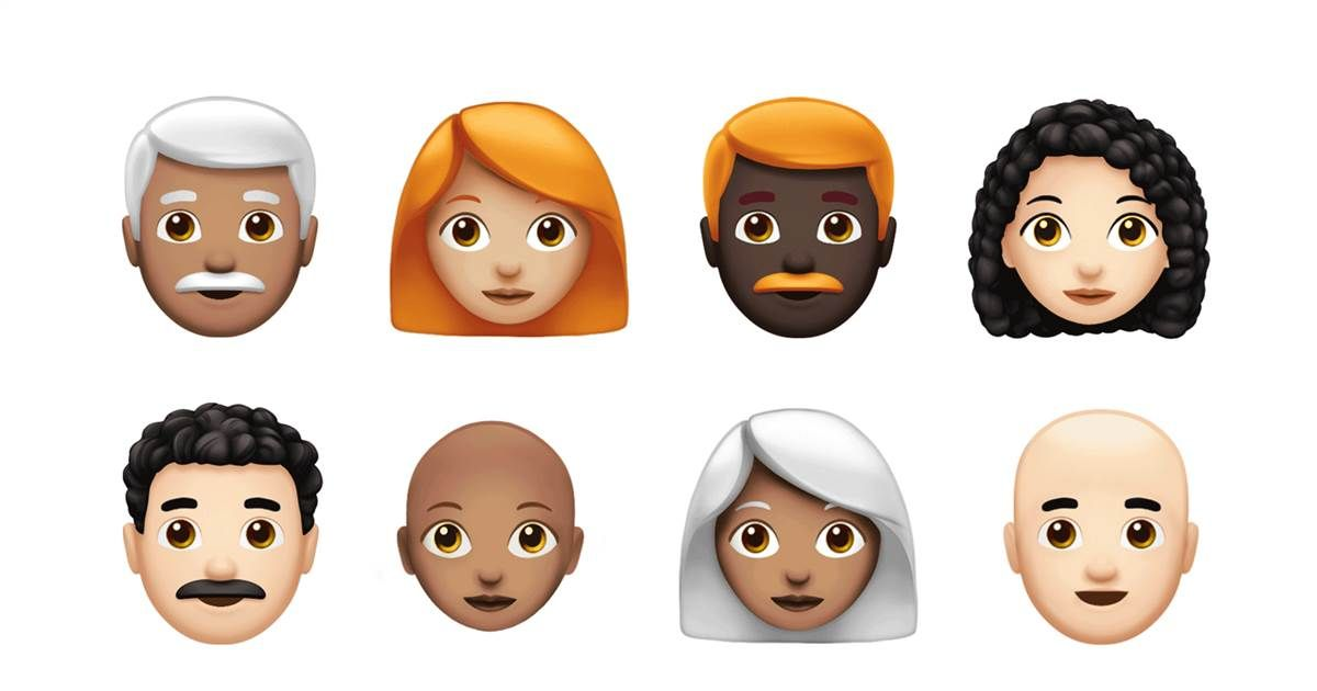 Gray Hair Curly Hair And More See The New Emojis Released For World Emoji Day New Emojis Emoji World Emoji Day