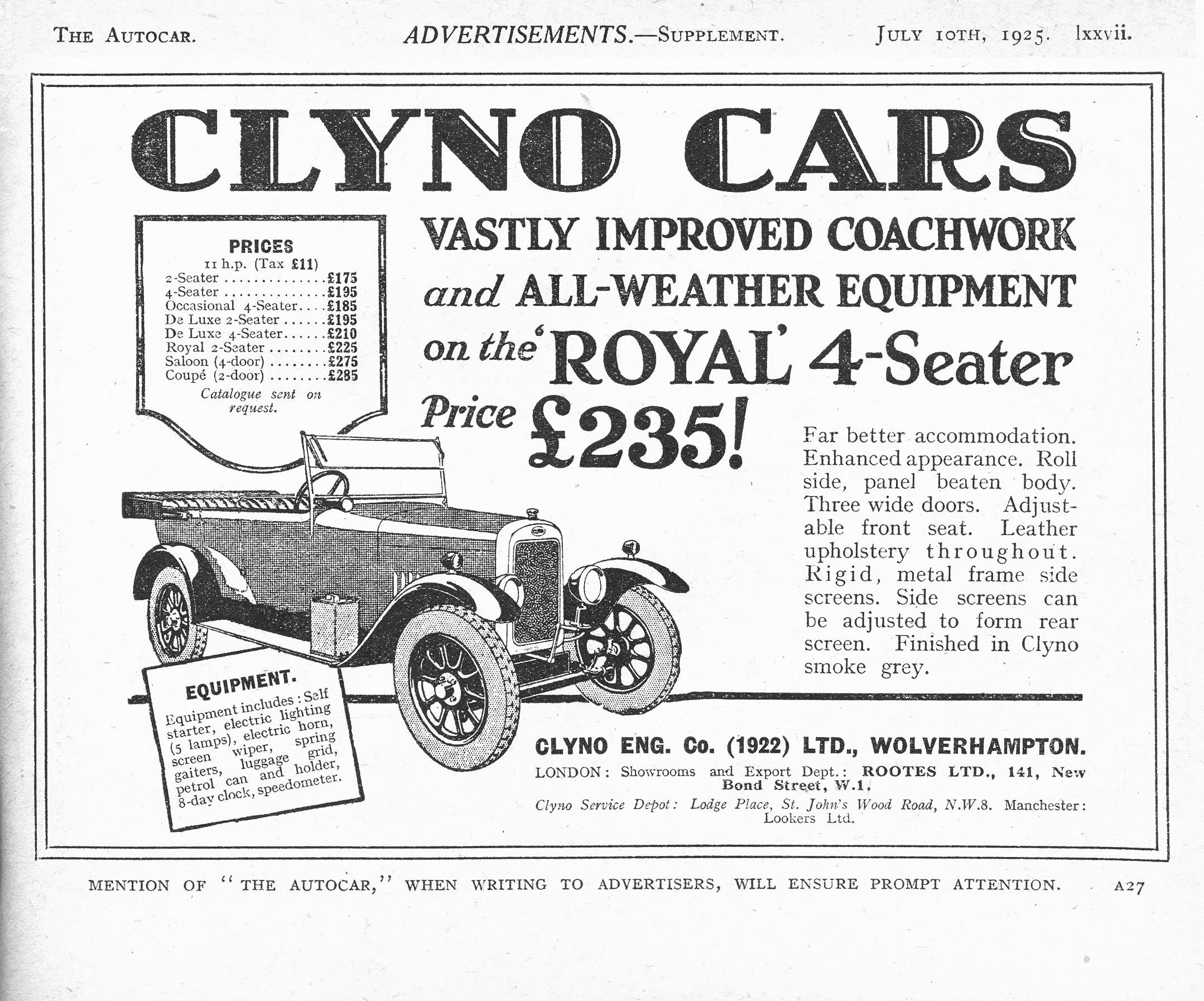 Clyno Autocar car advert 1925 - Clyno Royal 4 Seater | British Car ...