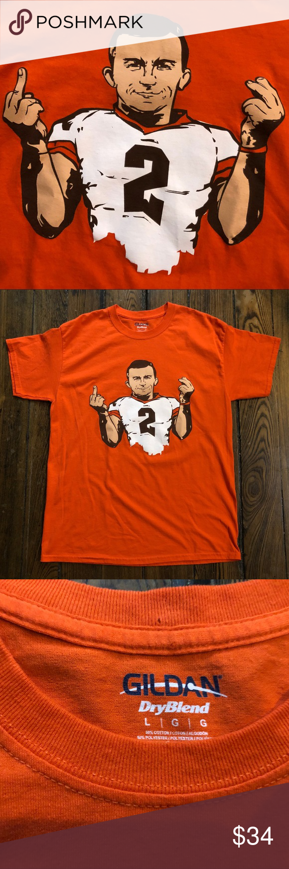Johnny Manziel Cleveland Browns T Shirt Tee Sz L in 2020 ...