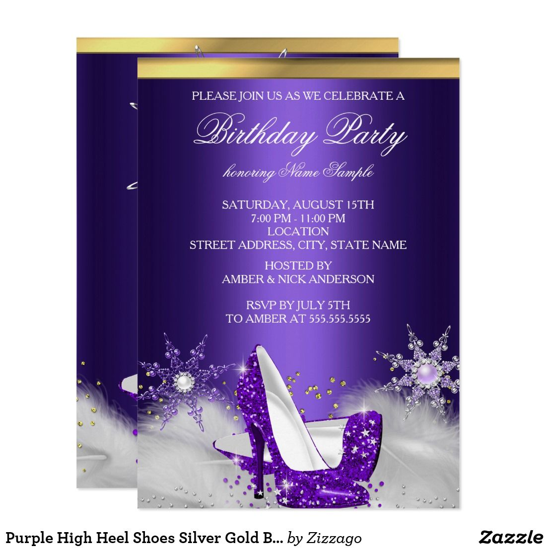 purple high heel shoes silver gold