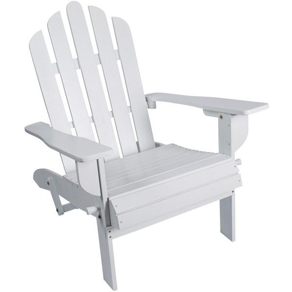 HD Designs Outdoors® Folding Wood Adirondack Chair   White ❤ Liked On  Polyvore Featuring Home