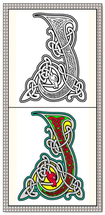 Coloring Book 26 Printable Coloring Pages Outlines Color Examples Instant Download Celtic Alphabet C Celtic Coloring Book Celtic Alphabet Celtic Coloring