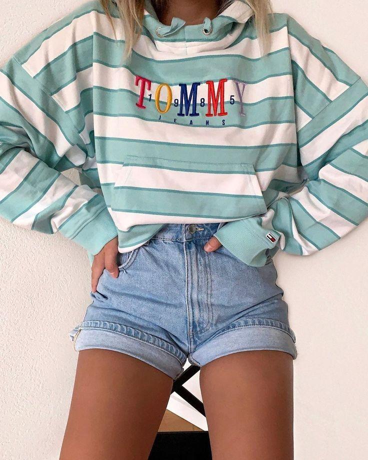 Denim short outfit #cuteoutfitsforsummer