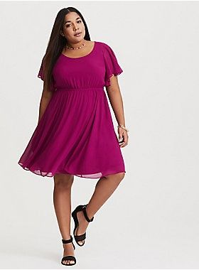 9e6b22e41 Butterfly sleeves and chiffon construction liven a mini skater dress in a  deep berry hue.Chiffon fabricScoop neckShort butterfly sleevesKeyhole back  with ...