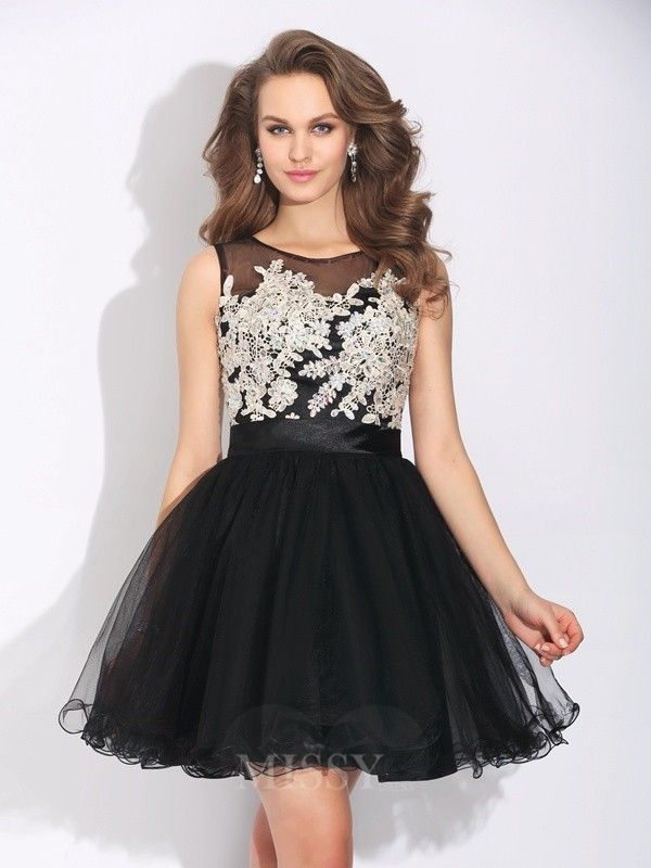 0b84480f856ceb A-Line Princess Scoop Ruffles Mini Net Dress With Beading - MissyDress