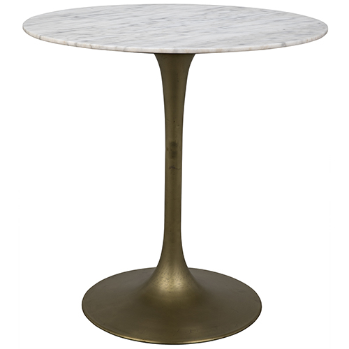 Noir Laredo Antique Brass 40 Inch Bar Table With White Marble Top