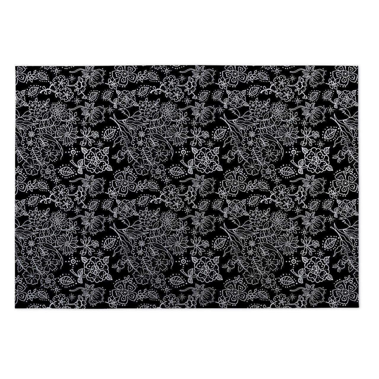 Kavka Designs Night Garden Black Indoor Outdoor Floor Mat 5 X 7