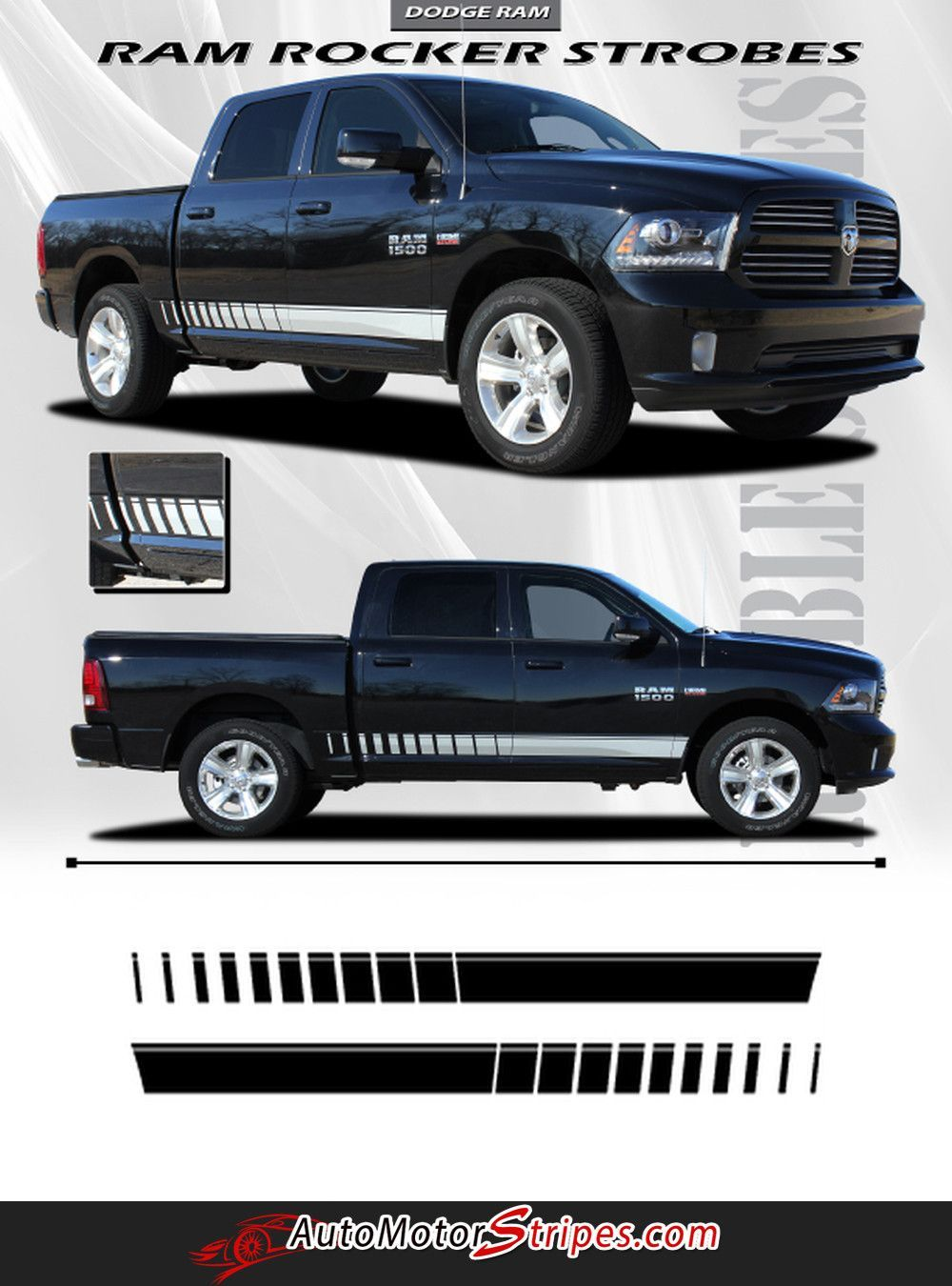 Vehicle Specific Style Dodge Ram Truck Lower Rocker Panel Strobe - Truck bed decals custombody graphicsdodge ram
