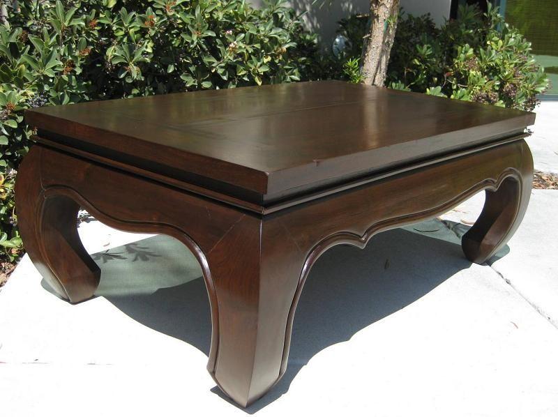 Hand Carved Distressed Teak Wood Opium Legs Coffee Table