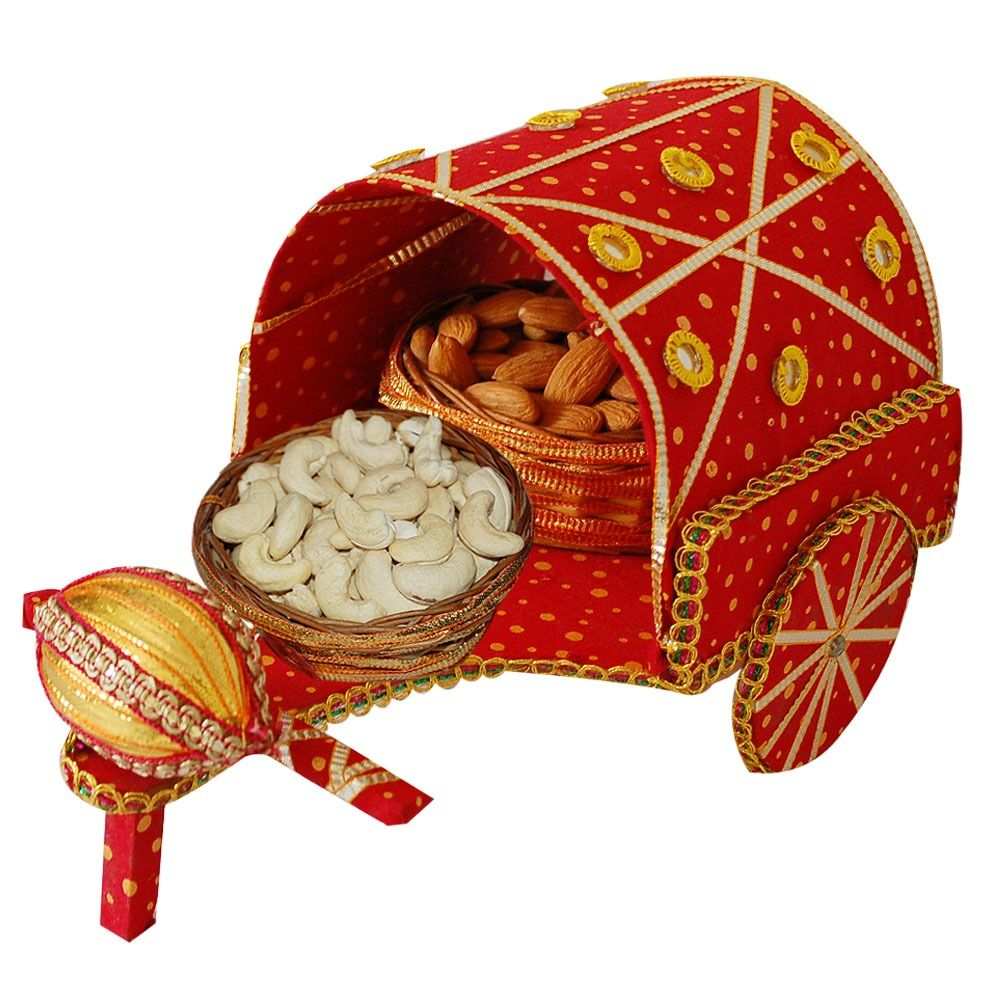 Send Wedding Gifts Online India: Nariyal With Dryfruit Rath :,Indian Gifts Portal
