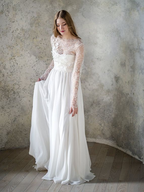 Lace Bodice Chiffon Wedding Dress With Long Fitted Sleeve Etsy In 2020 Chiffon Wedding Dresses Lace Boho Bridal Gowns Ivory Wedding Dress