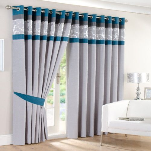 Faux Silk Eyelet Ring Border Lined Curtains Teal Silver