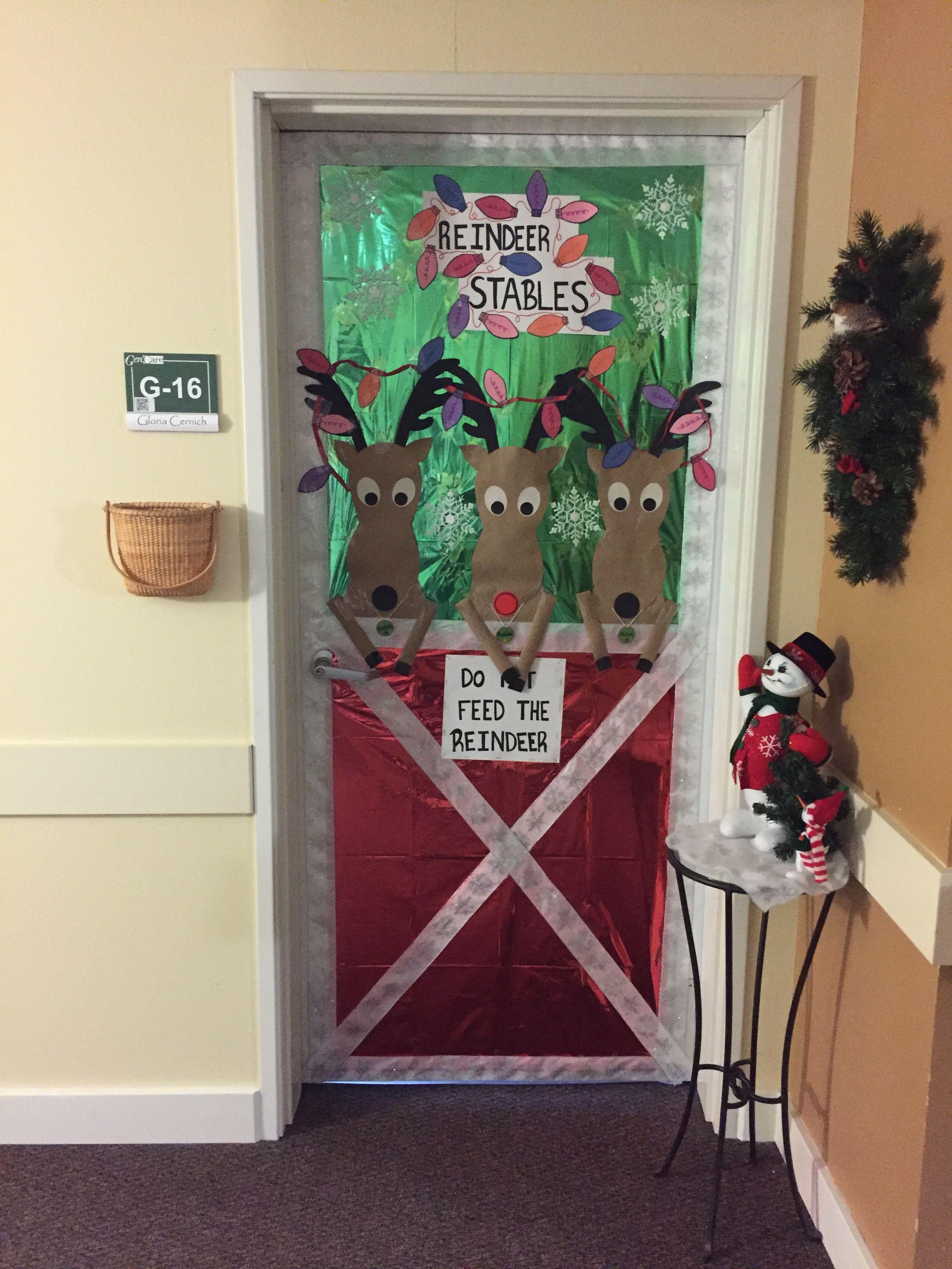 Christmas Reindeer Stable Door Decoration Diy Christmas Door