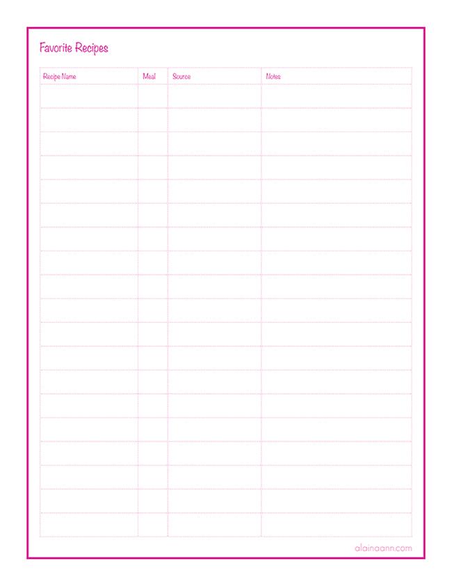 Favorite Recipes List Free Printable Alaina Ann Favorite Recipes Printable Food Printables Recipe Printables Free