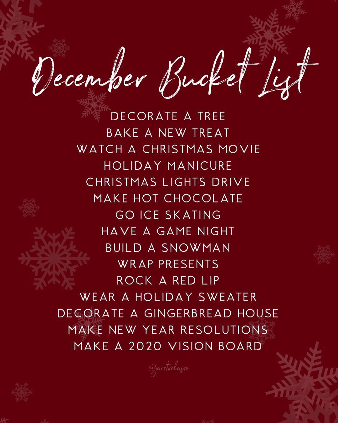December Bucket List in 2020 Bucket list, Holiday