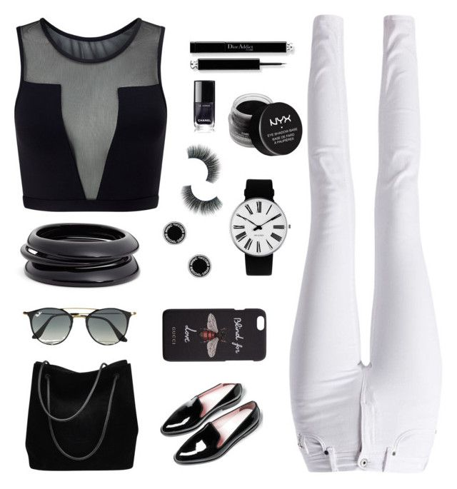 """monochrome"" by nagitautamid ❤ liked on Polyvore featuring Varley, Barbour International, Gucci, Ray-Ban, Rosendahl, ZENZii, Marc Jacobs and NYX"