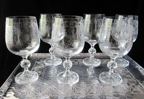 Vintage Czechoslovakia Etched Bohemia Champagne Glasses Set Of 12 Last Style Daisies