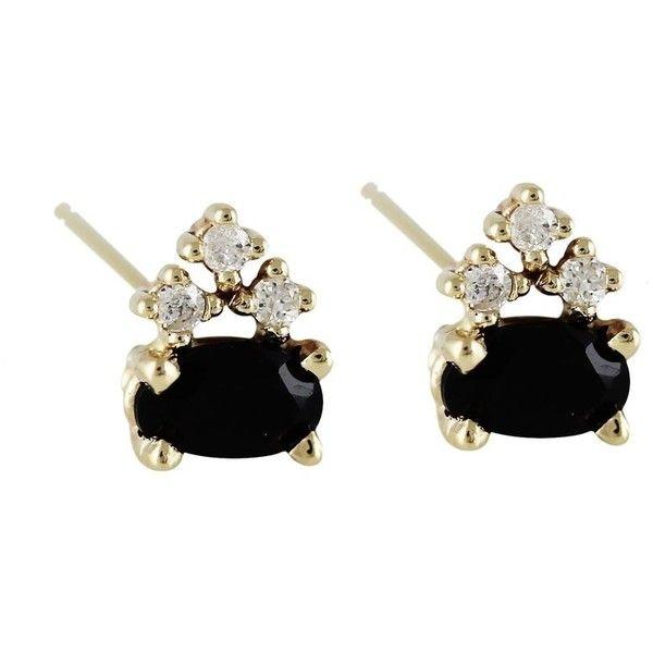 KATIE STUDS (1.435.210 COP) ❤ liked on Polyvore featuring jewelry, earrings, stud earrings, 14k jewelry, 14 karat gold jewelry, studded jewelry and 14k stud earrings