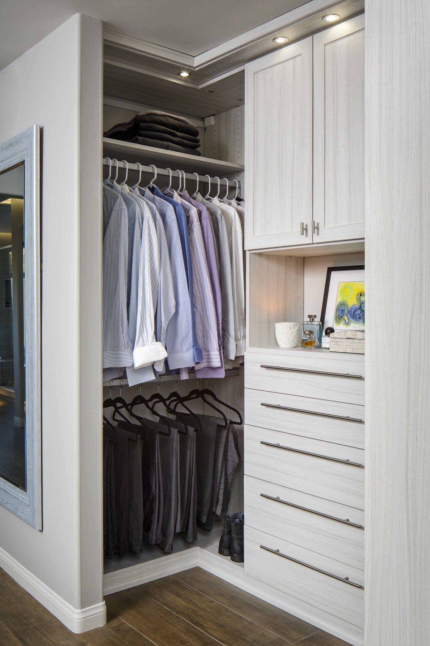 Custom Closet Space Touts Clean Lines Accent Lighting Closet