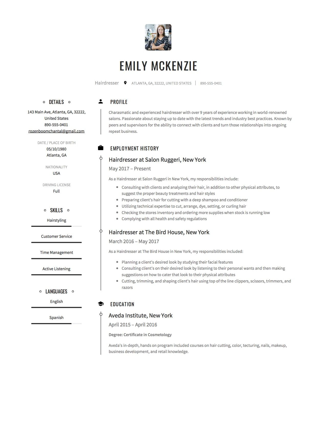 Hairdresser Resume Sample Template Example Cv