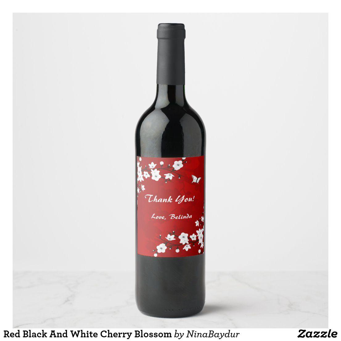 Red Black And White Cherry Blossom Wine Label Zazzle Com In 2020 White Cherry Blossom White Cherries Cherry Blossom