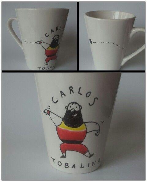 Taza para Carlos Tobalina. Pintada a mano por Avi. Regalo para un grande del deporte español. #taller35 #regalos #encargos #tazaspersonalizadas #mugs #olímpico #peso #shotput