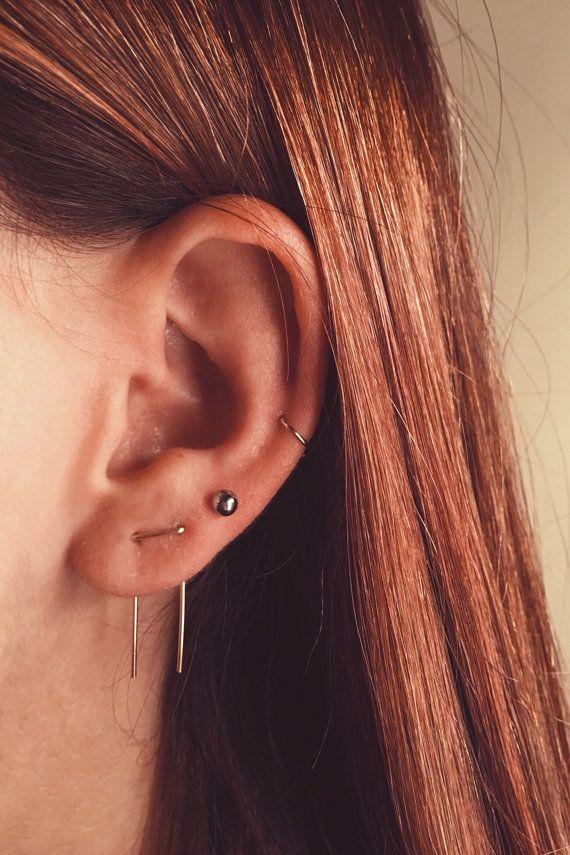 Double Piercing Threader Earrings, Double Lobe Earrings, Double Threader Earrings, Double Piercing, Two hole Earrings, Staple Earrings