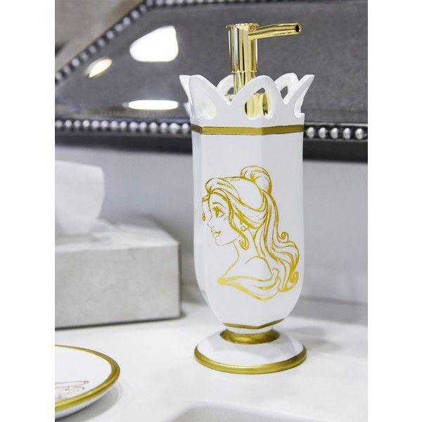 Disney Beauty And The Beast Gold Sketch Soap Pump (¥1,780) ❤ Liked On  Polyvore Featuring Home, Bed U0026 Bath, Bath, Bath Accessories, White Bathroom  ...