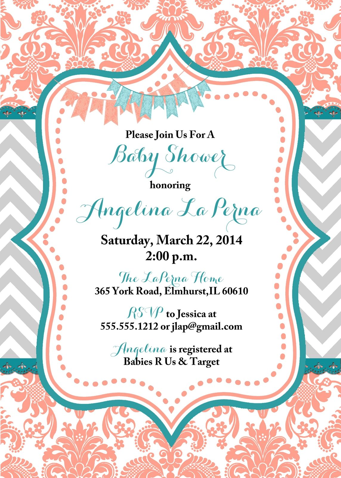 turquoise and coral baby shower ides | Damask Coral and Teal Baby ...