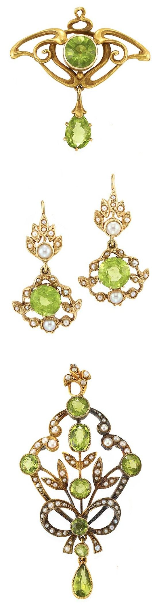 Art Nouveau Gold and Peridot Pin and Gold, Peridot and Split Pearl Pendant-Brooch and Pair of Pendant-Earrings  15 ct. & 14 kt., c. 1900, ap. 12.7 dwts.