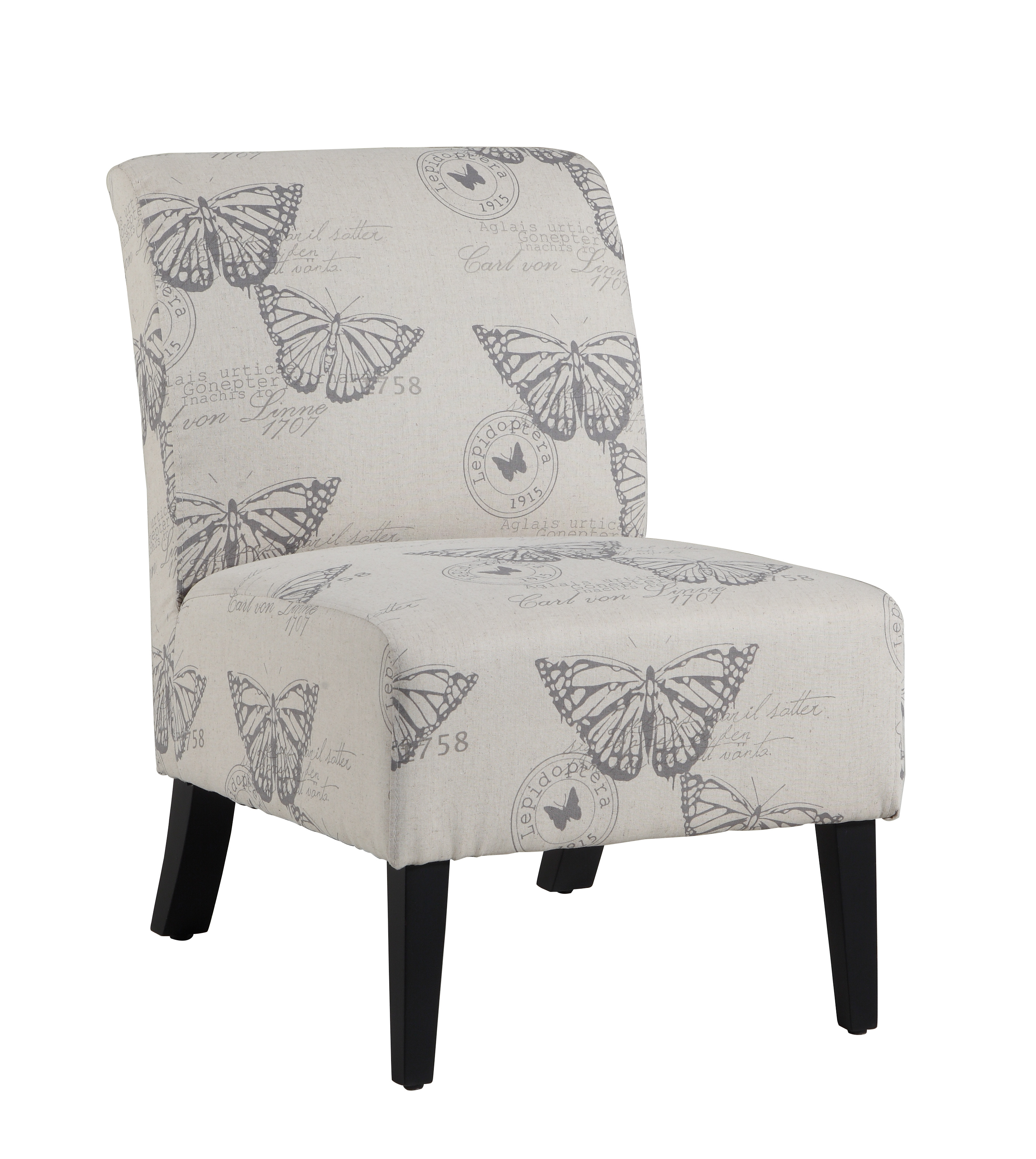 Linon Linen Butterfly Lily Chair, Multi
