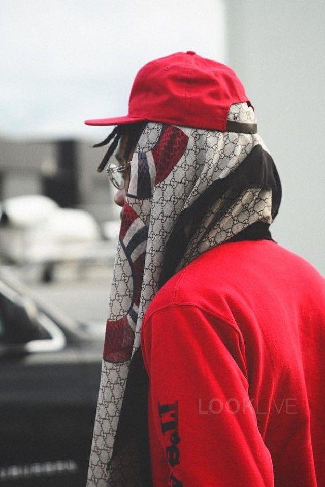 5462718e4ef Wiz Khalifa wearing Gucci Snake Print Wool Scarf